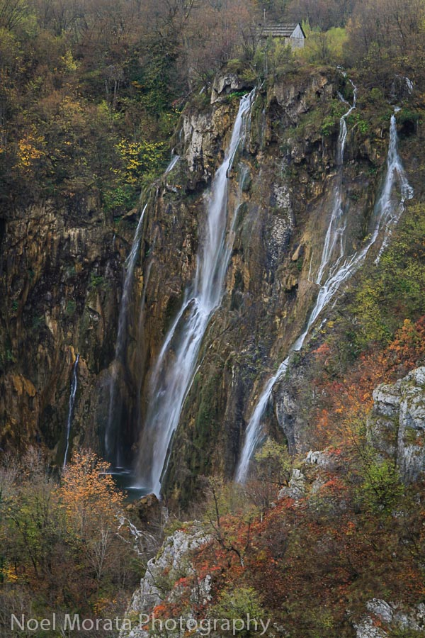 A close up detail of the lower falls in Plitvice