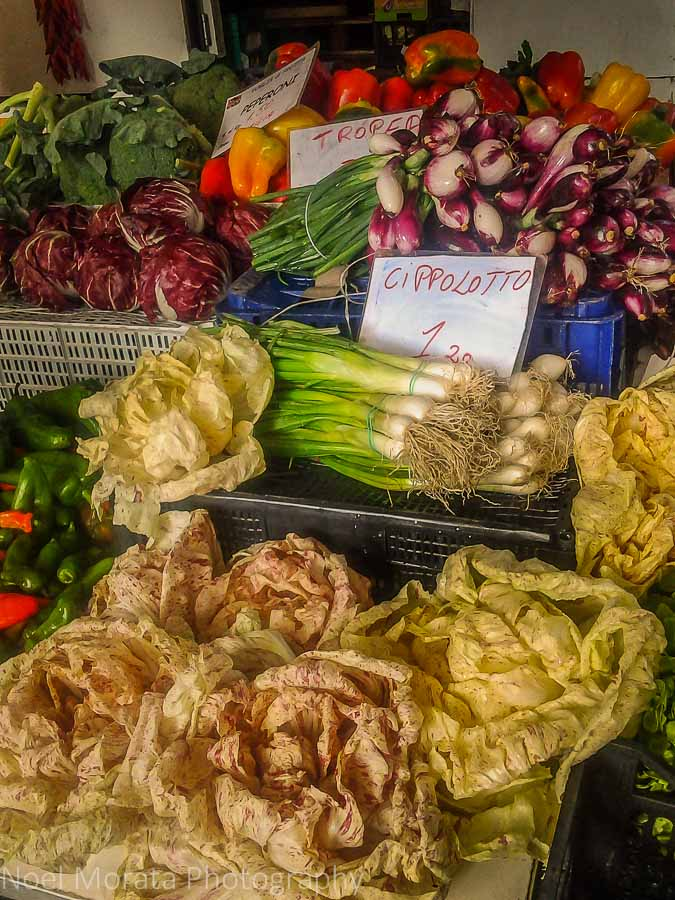 Colorful vegetables in season at the Faenza market