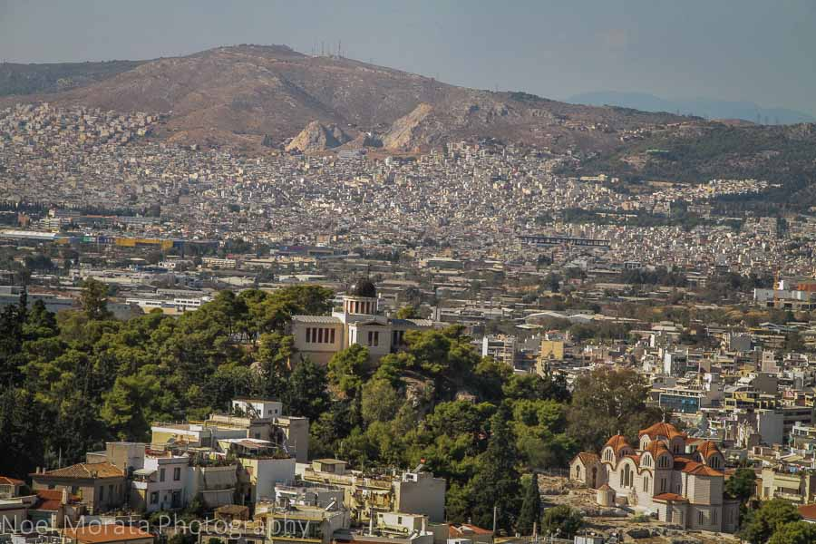 A panoramic view of the historic district and hills of Athens