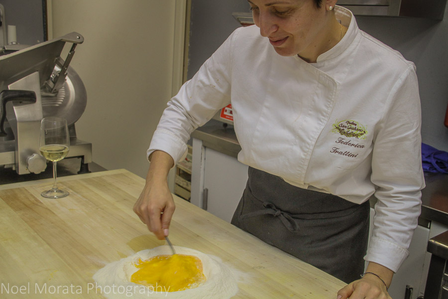 Starting the pasta dough at Podere San Giuliano