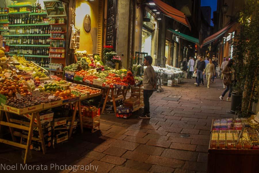 The evening market at the Quadrilatero in Bologna