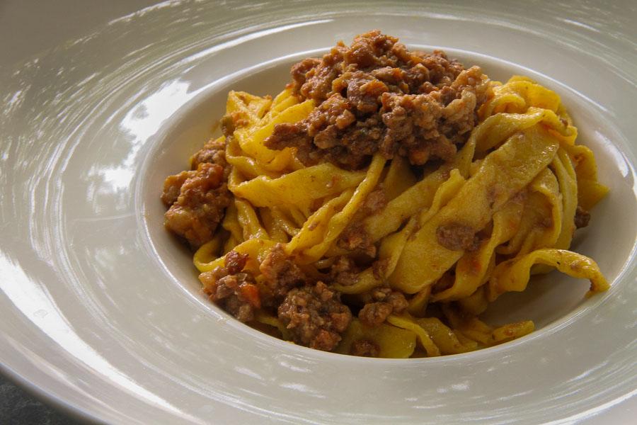 Tagliatelle in Bolognese sauce from Podere San Giuliano