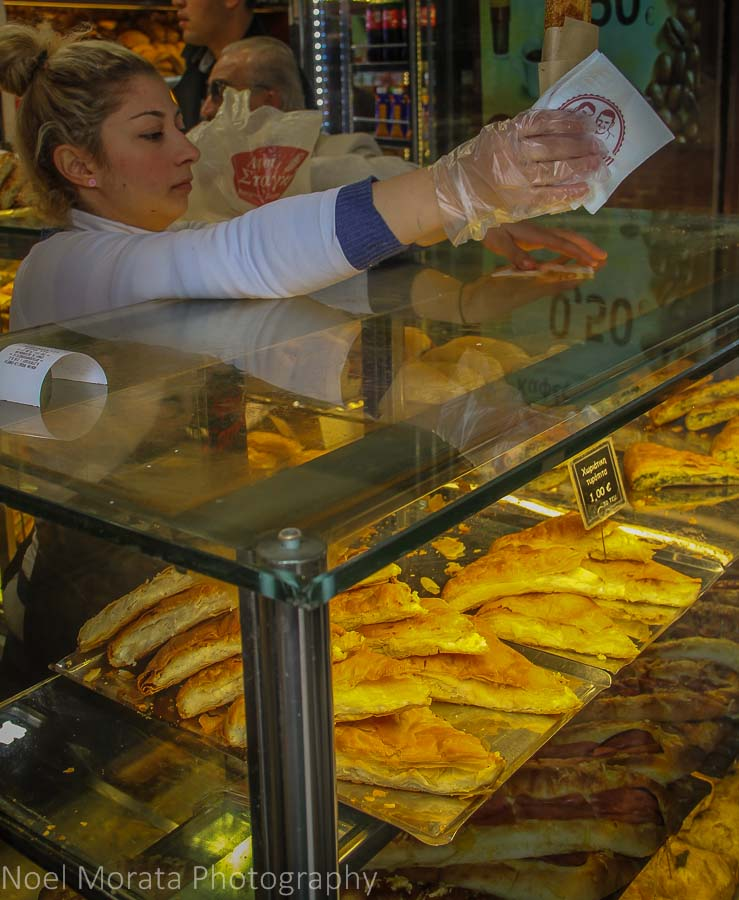 A pastry vendor at the Thessaloniki Modiano market