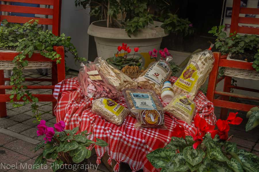 A display of local Thessaloniki specialty foods