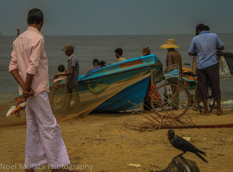 Busy Negombo beach scene close to the city center