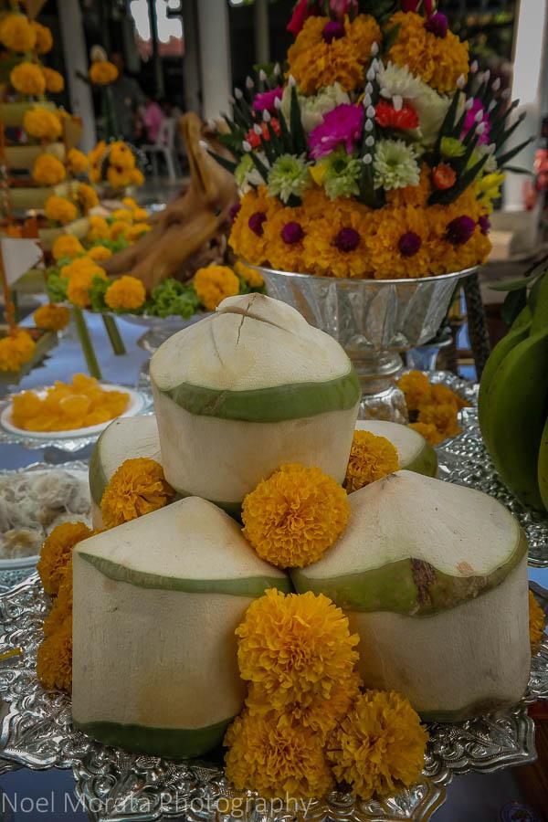 Temple offering display at Baan Silapin in Bangkok