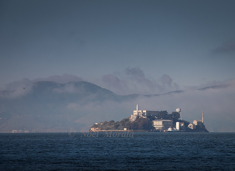 Alcatraz island landscape scene, San Francisco, California