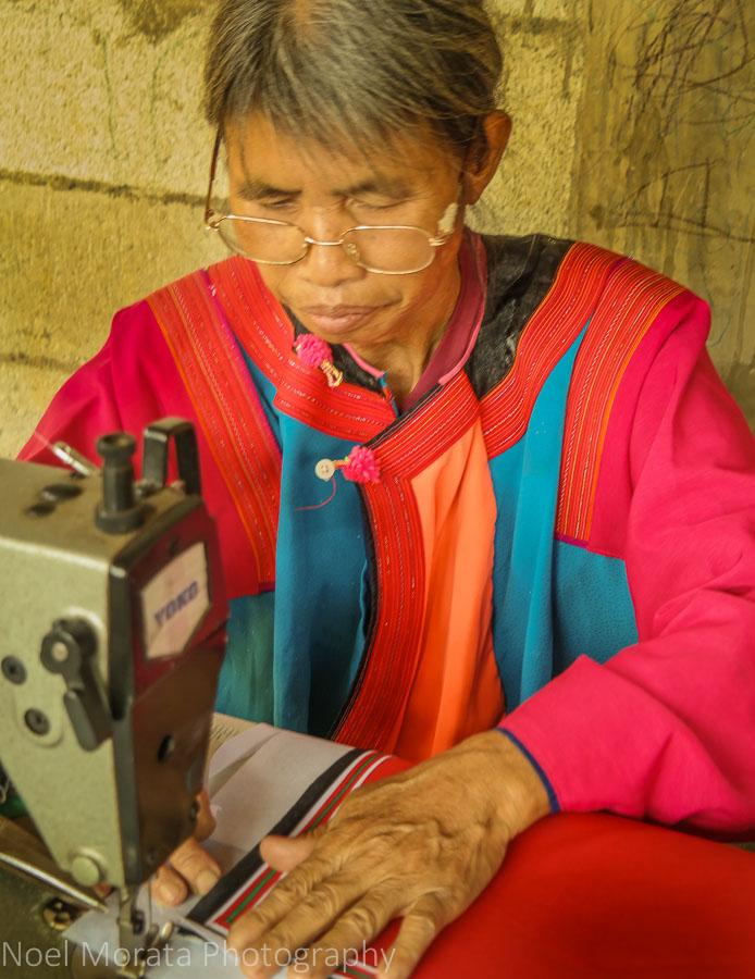 Lisu elder sewing project, Lisu village tribe