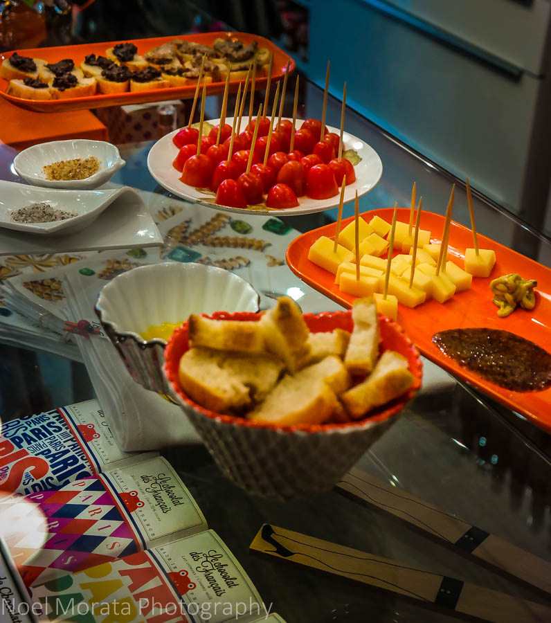 A food tour - small specialty food purveyors samples to taste, St. Germain des Pres