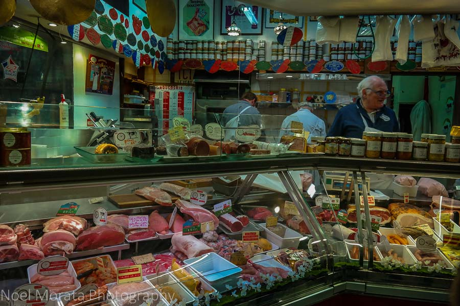 A cured meats and butcher at Marché Alimentaire de Saint Germain