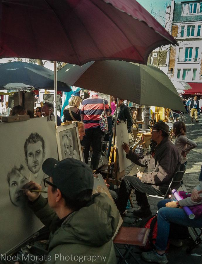 Portrait studies from various artists in Montmarte, Paris