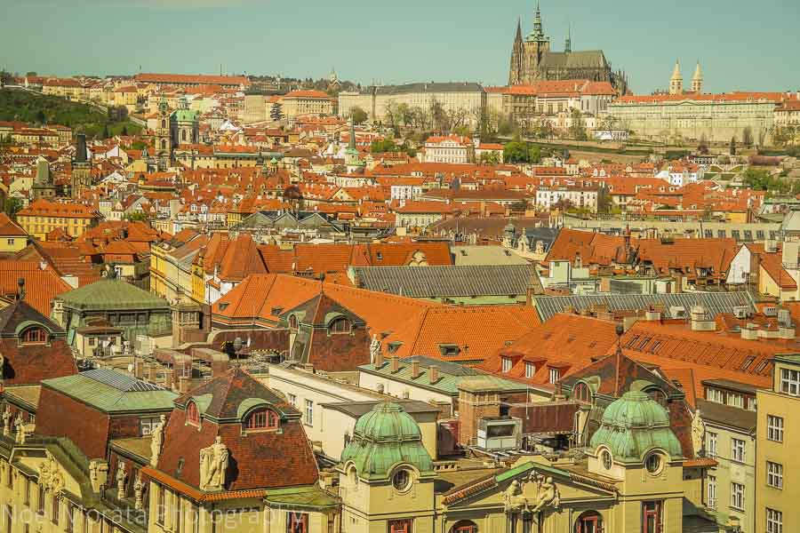 Looking towards Prague castle and St. Vitus cathedral