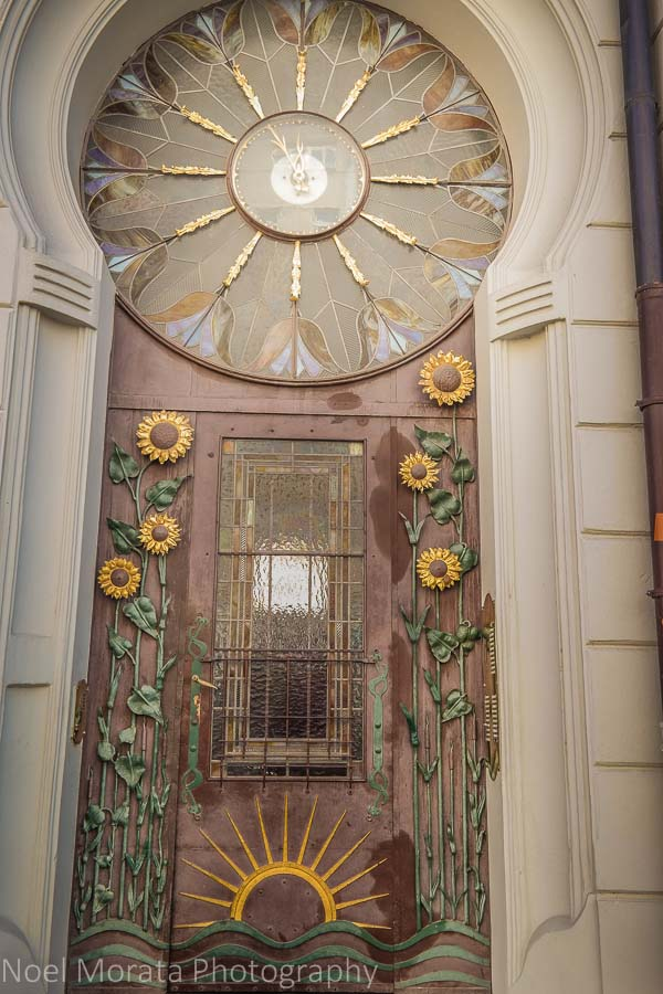 Unusual and artistic period doorways in Prague