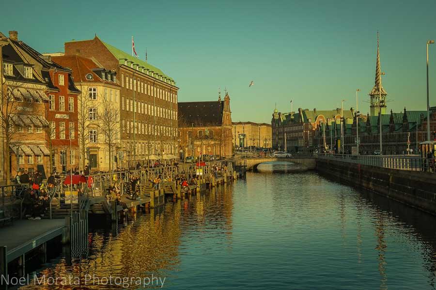 Canal views of Nyhaven and Slotsholmen, central Copenhagen