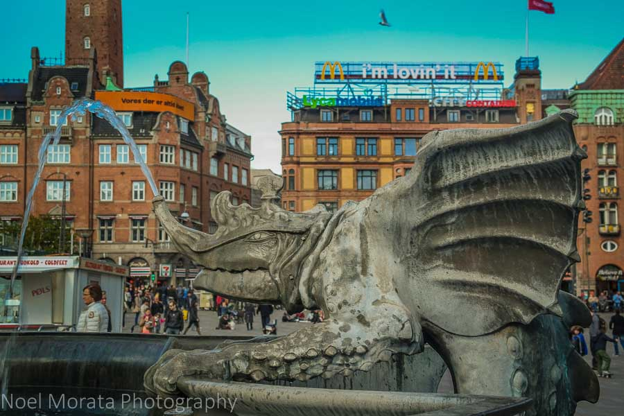 Fantasy dragon at city hall square - A first impression of Copenhagen, Denmark