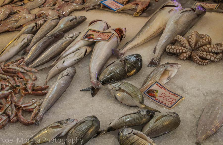 Fresh local seafood at the public market in Chania, Greece