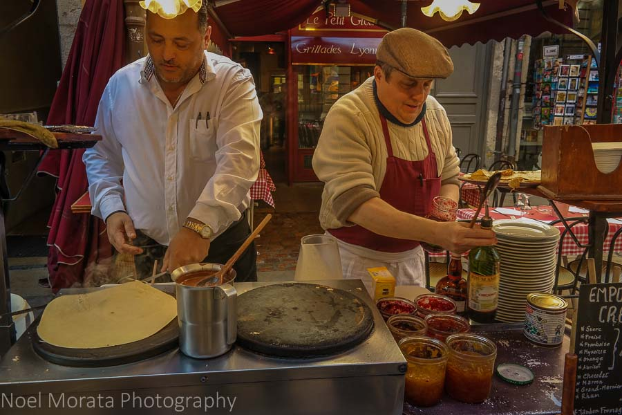 Crepes to go in the medieval district of Lyon, France