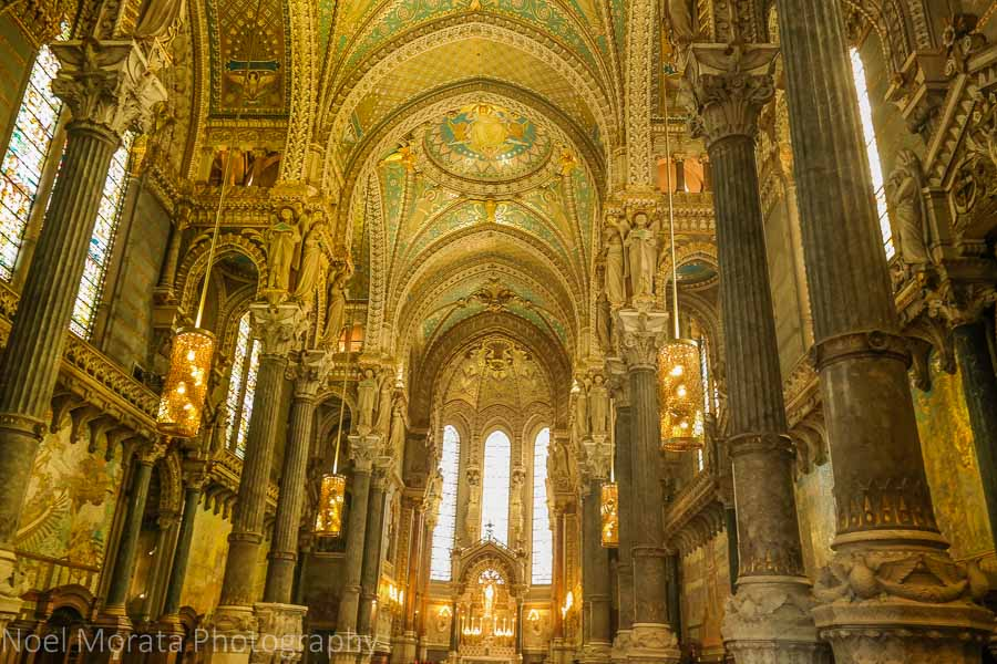 Interior details of the Basilica of Notre-Dame de Fourvière in the medieval district of Lyon, France