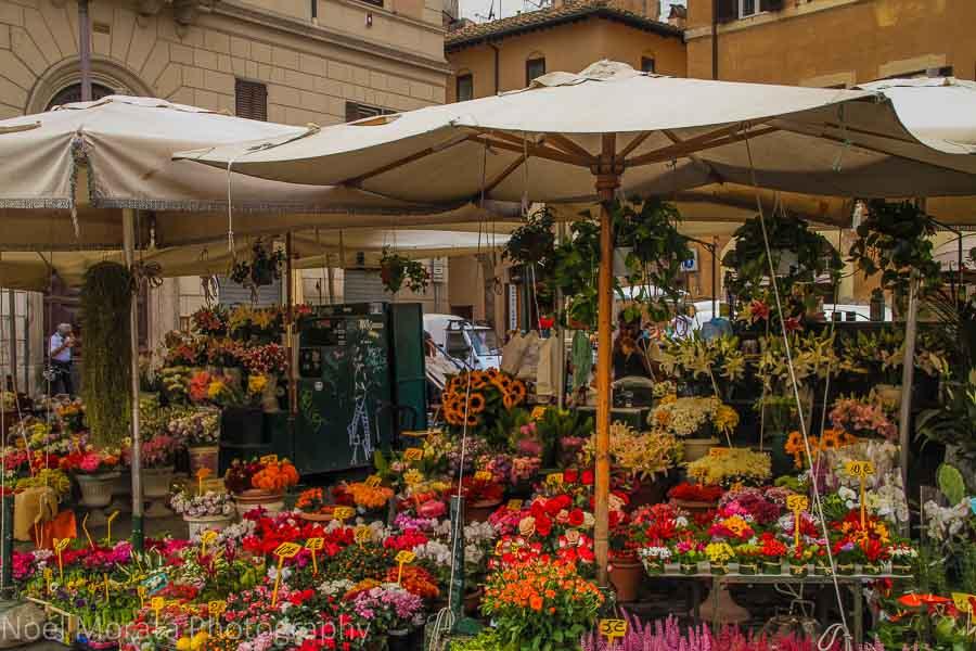 Daily flower market at Campo Fiori in Rome.