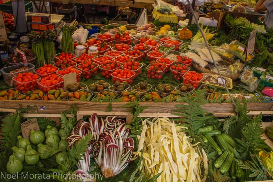 Artful presentations at the farmers market in Campo Fiori, Rome