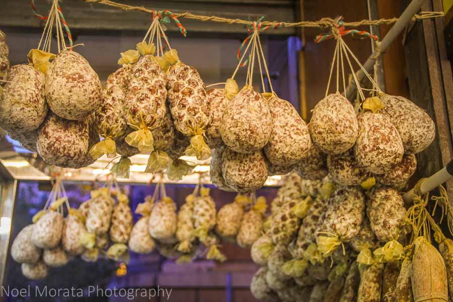 Salami on display at Antica Caciara delicatessen in Trastevere, Rome