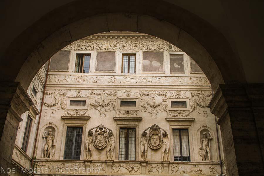 A stunning building façade in the Campo Fiori, Rome