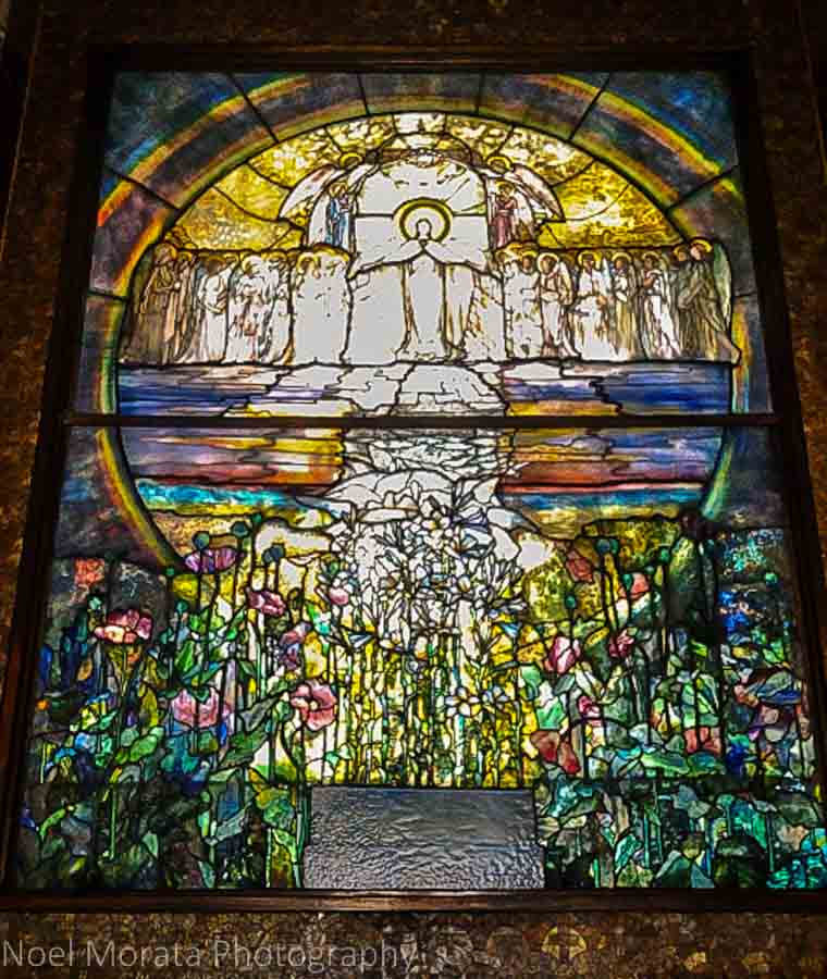 Tiffany glass at the Lake View chapel - Lake View cemetery