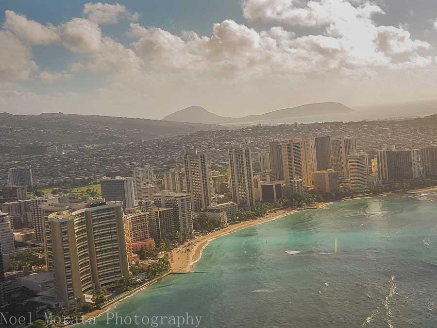 Coastal views above Waikiki - Helicopter ride around Oahu