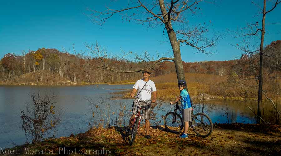 Biking around Hinckley lake at Hinckley Reservation in Ohio