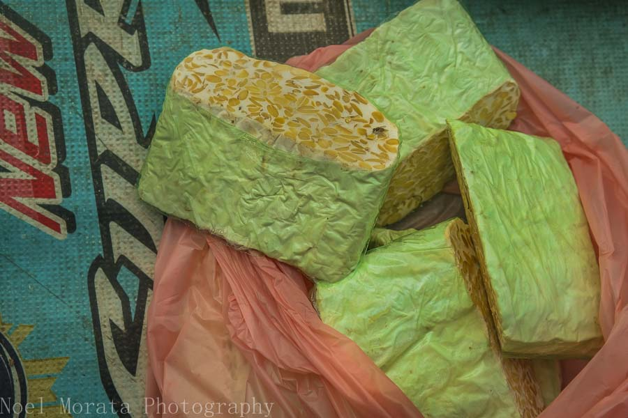 Green tofu for sale in Tabanan market, Bali