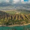 Oahu from above and Diamond Head crater, Hawaii
