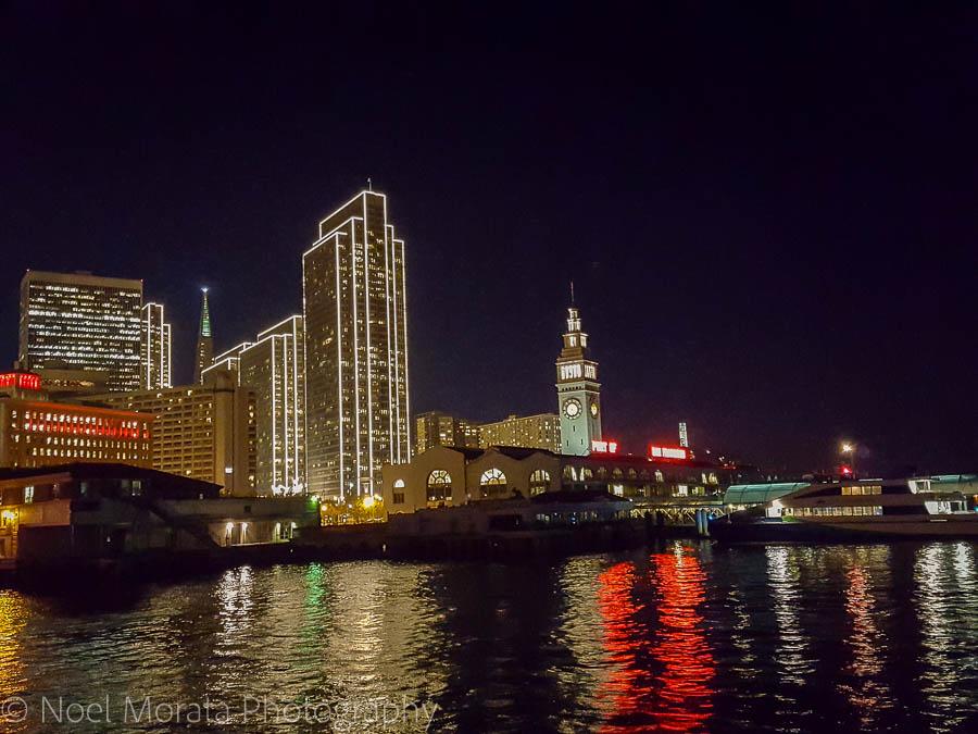 San Francisco night skyline at the Embarcadero Plaza in San Francisco