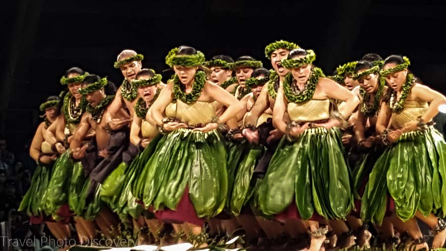 Hawaiian traditional Kahiko performance at Merrie Monarch Festivals 2016 Ho'ike night