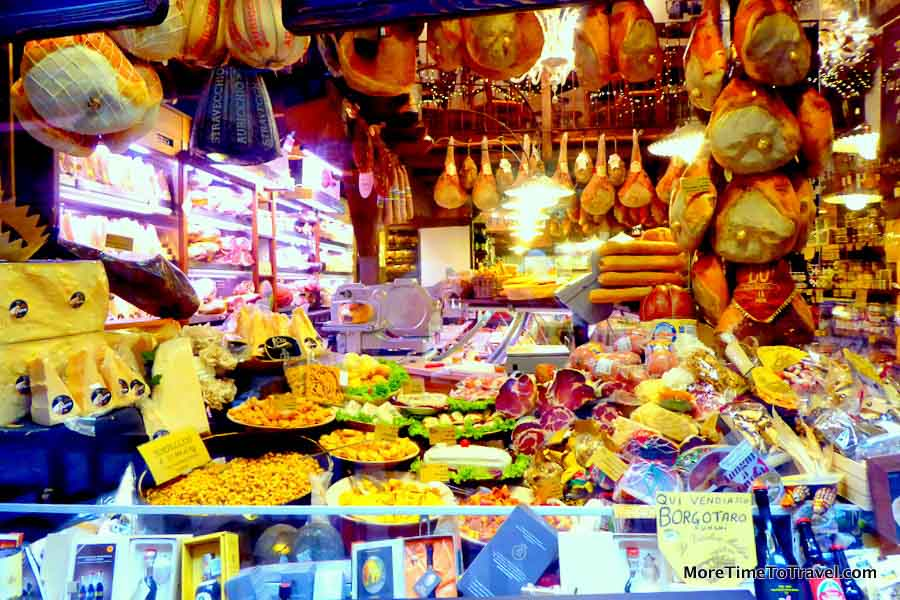Salumeria in the old market section of Bologna