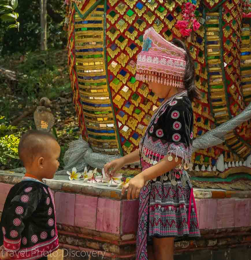 Children in traditional costume Visiting Wat Phra That Doi Suthep