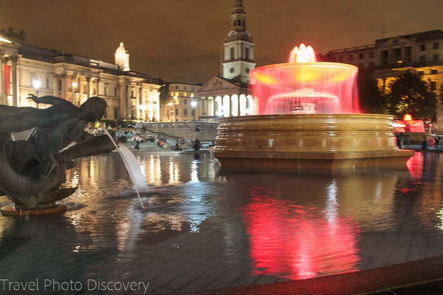 Trafalgar square at night places to visit in London