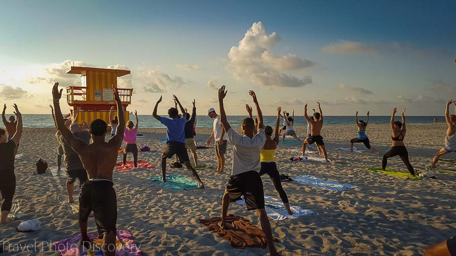 Morning yoga at South beach, Miami