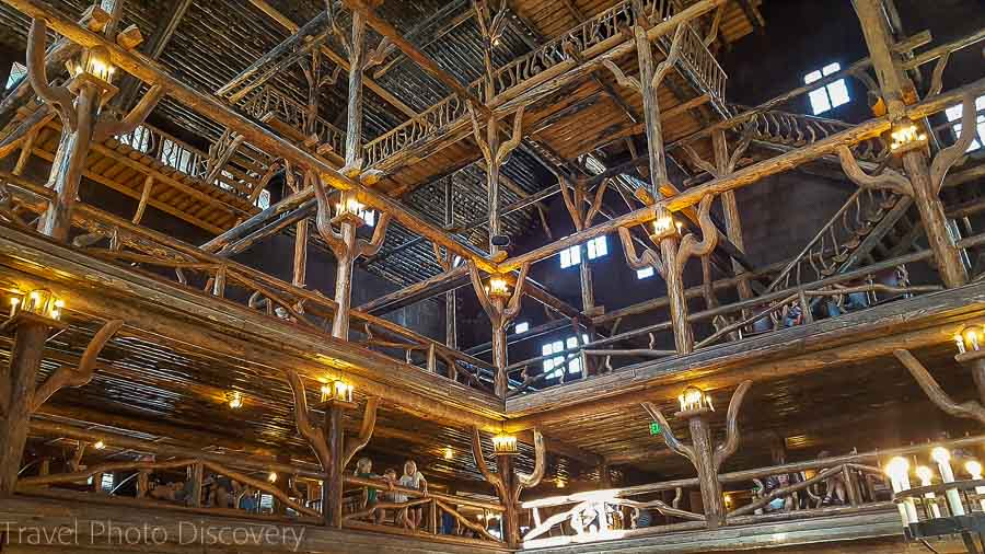 Wooden interior at Old Faithful Inn in Yellowstone