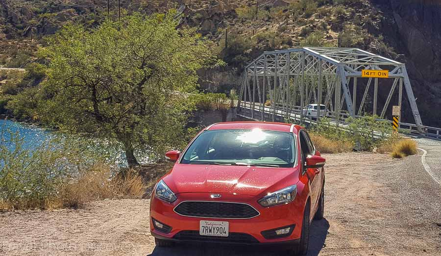 Rental car driving on the Apache Trail in Phoenix Arizona