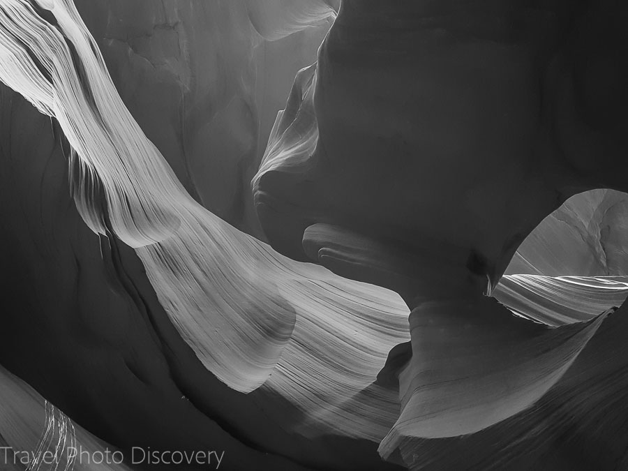 Black and white study Road trip to Antelope Canyon in Arizona
