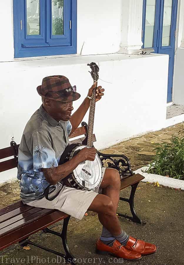 Musician at Casco Viejo Visiting Panama City's Unesco site Casco Viejo