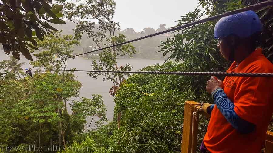 Taking the Zip line over Gatun Lake in Panama