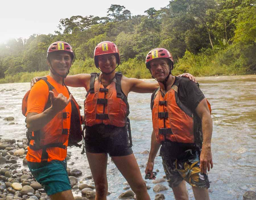 Posing before our river rafting experience on the Chiriqui Viejo river in Boquete, Panama
