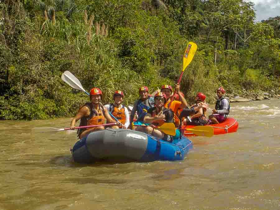 Starting our river rafting experience on the Chiriqui Viejo river in Boquete, Panama