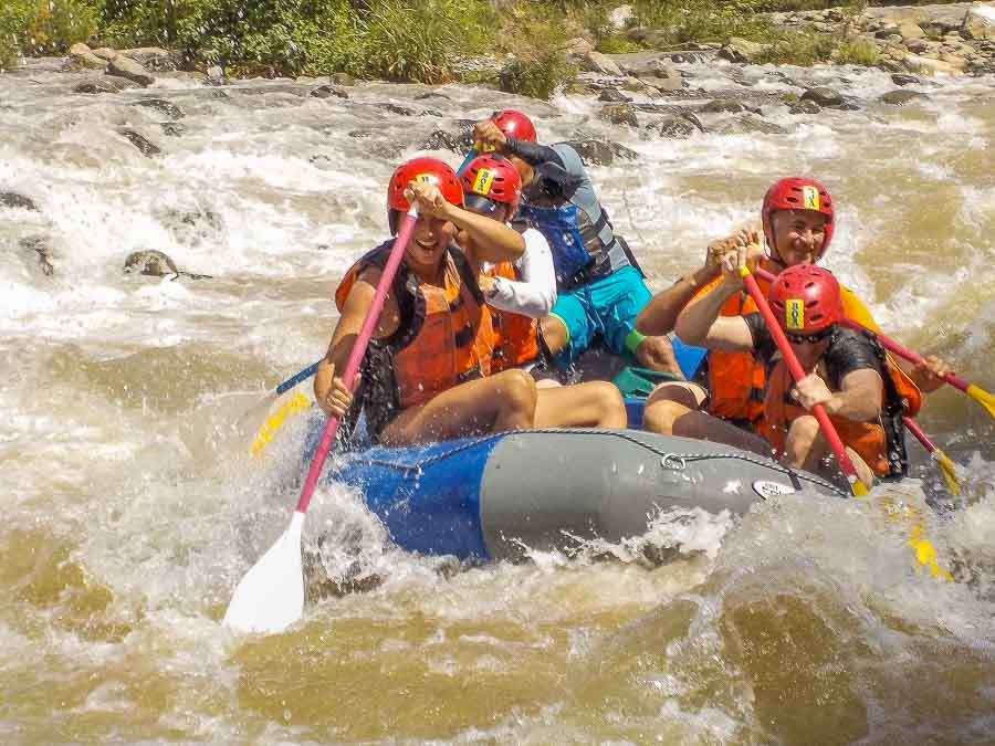 The class 3 rapids of the Chiriqui Viejo river in Boquete Panama