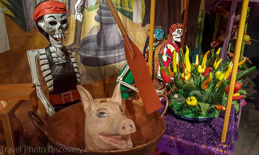 Day of the dead display Museum of Dolores Olmedo