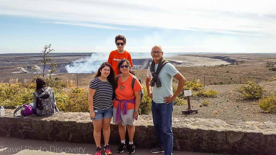 Posing at the caldera at Volcanoes National Park