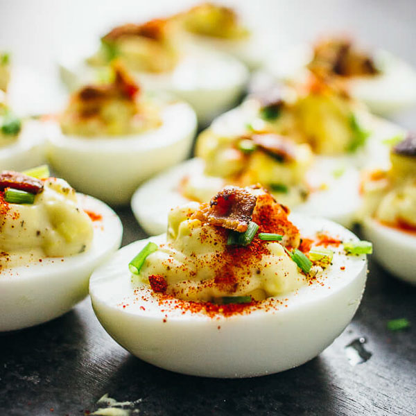 Easter dessert and foods Deviled eggs with Savory Tooth