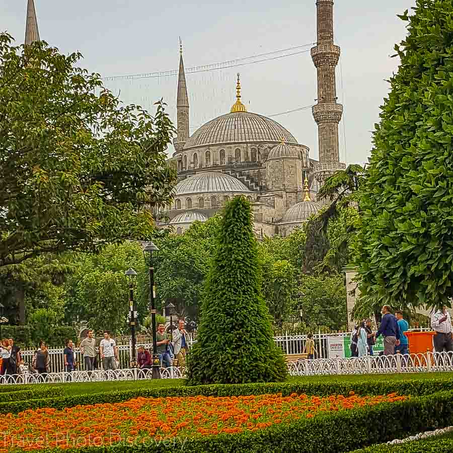Gardens fronting the Blue Mosque in Sultanhamet, Istanbul