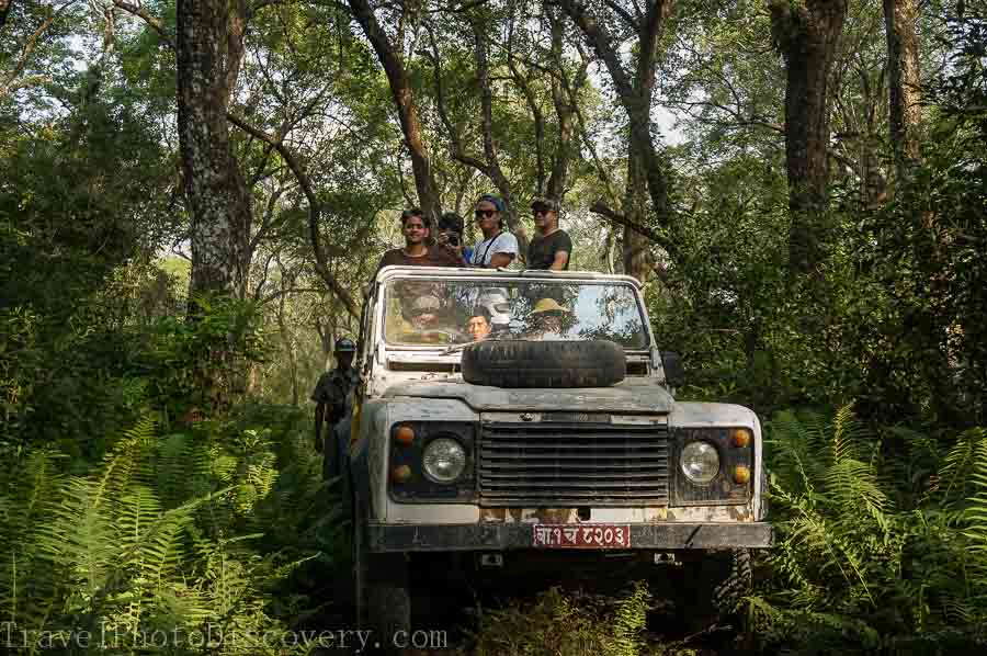 Safari jeeps at Machan wildlife resort and Chitwan National Park